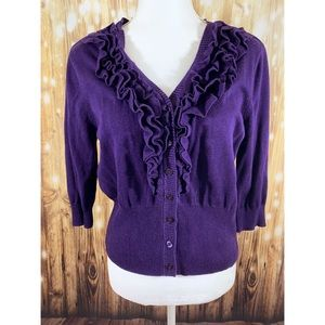 ❤️Worthington- Purple Button Up Ruffle Sweater- L